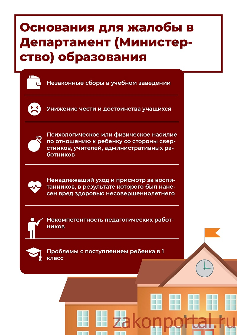 Основания для жалобы в Департамент (Министерство) образования